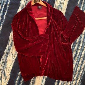 Gap Red Velvet Kimono Modern Smoking Jacket